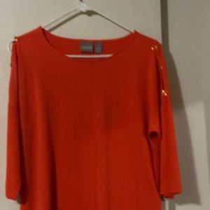 Chico's orange top with short sleeves